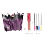 Yoyorule 20PCs Make Up Brush Eyebrow Brushes+4 PCs Eyelash Brush+1 PC Random Lip gloss
