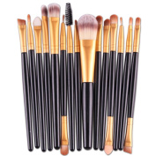 Makeup Brush Set,Neartime 15 pcs Eye Shadow Foundation Eyebrow Lip Brushes Beauty Brush Tool