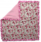 Dear Baby Gear Baby Blankets, Vintage Floral Pink on White, Pink Minky