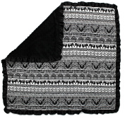 Dear Baby Gear Baby Blankets, Elephants Tribal Bali, Black Minky