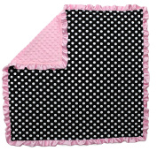 Dear Baby Gear Baby Blankets, Polka Dots White on Black, Pink Minky