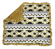 Dear Baby Gear Baby Blankets, Aztec Gold and Black on White, Gold Minky