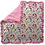 Dear Baby Gear Baby Blankets, Bright Feathers on White, Pink Minky