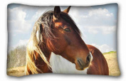 Soft Pillow Case Cover ( Animal Horse ) Pillow Covers Bedding Accessories Size 50cm x 80cm suitable for X-Long Twin-bed PC-Yellow-34171