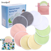 Best Washable Organic Bamboo Nursing Pads(10 Pack) with Laundry and Cloth Bag by SmartFami,Reusable Breast Pads,Ultra Soft,Waterproof,Leakproof Bra Pads,Absorbent,Hypoallergenic,Breastfeeding Pads