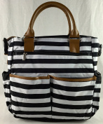 Stylish Tote Nappy Bag - Black/White Stripe with Changing Pad - Tan Trim with Shoulder Strap
