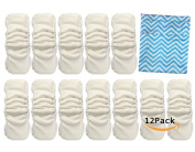 Vlokup Waterproof 5 layer Nature Bamboo cloth nappy inserts Overnight Washable Cotton Inserts for Cloth Pockect Reusable Nappies Nappy Liners with Gussets