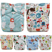Atgate Christmas Baby Reusable Cloth Nappy Covers Nappy 6pcs with 12 Inserts