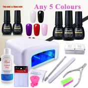 (Pick Any 5 Colours) Gel Polish Soak Off Top Base 36W UV Lamp Manicure Tools Cleanser Plus Nail Art Files Removers Buffer Nipper Push Wipes Holder French Stickers Gift Set DIY by FairyGlo