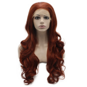 Mxangel Long Wavy Burgundy Red Natural Synthetic Lace Front Wig
