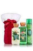 Bath and Body Works Gift Set Vanilla Bean Noel 300ml Shower Gel, 240ml Body Lotion, 240ml Fragrance Mist in cute velvet Santa Bag