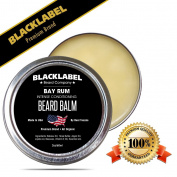 Black Label Premium Beard Balm Handmade in USA Bay Rum Scented Leave-In Conditioner for Beard Moustache & Face 100% Natural & Organic, Exclusively Made by Texans 60ml