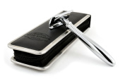 Otto Kampfe Long - Handle Double Edge Safety Razor with Leather Travel Case. Best Gift for Men.