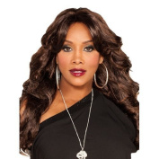 VIVICA A FOX Pure Stretch Wig - BRAXTON - #FS4/27/30 Dark Brown Mixed With Honey Blonde And Auburn by Amekor