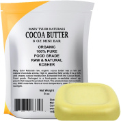 Organic Cocoa Butter Food Grade & Edible Mini Bar 240ml Non-Deodorised Pure Raw, Rich In Antioxidants. Great For Chocolates, DIY Recipes, Lip Balms Lotions Creams & Stretch Marks By Mary Tylor Naturals
