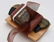 Bogue Milk Soap-Beard Grooming Giftset- Chiefs Peak Blend Beard Wash Clean & Defrizz w Avocado, Argan, Vitamin E & Pumpkinseed oils Soothing Cedarwood & Rosemary with Sandalwood comb and tray