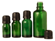 Lot of 12 Essential Oils Wholesale Boston Round Serum Bottles Empty Green Glass Aromatherapy Bottles Tamper Evident Cap 15 ml Euro Dropper Bottles by MT Bottles & Jars