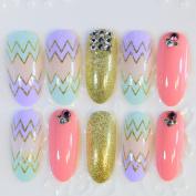 24pcs Nails Kit Long Fake Nails Sawtooth Design Nail Art False Nail Tips Round Full Cover Press On Nails Pink Gold Z281
