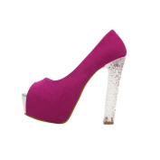 Fashion Lady Wide High Heel Shoes Peep Toe Crystal Stiletto Shoes Sandals Red US4 strapless Shoes