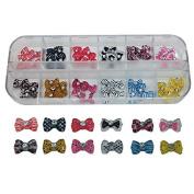 60pcs Fashion 12 Colours Beauty Rhinestones Bow Tie Nail Art Resin 3D DIY Nails Decorations