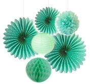 Since Mint Series Mint Green Tissue Paper Pompom Paper Fan Mint Honeycomb Ball and Mint Green Paper Lanterns, Pack of 6