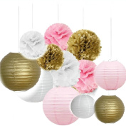 Since Set of 12 Mixed Gold Pink White Tissue Paper Pom Poms Flower Paper Lanterns Wedding Birthday Girl Baby Shower Party Decoration