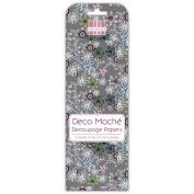 Grey Ditsy Florals Deco Mache x 3 Paper Sheets Tissue Patch Craft Trimcraft