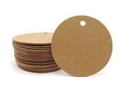 G2PLUS Kraft Paper Gift Tag with 30m Jute Twine, Round Shaped Blank Hang Tags for Craft Projects, Xmas Gifts