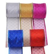 eZthings Decorative Wired Sheer Glitter Ribbon for Christmas Gift Wrapping and Holiday Decor (50 Yards