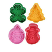 Vipe 4pcs Christmas Decor Fondant Cake Pastry Plunger Cookies Cutter Mould Mould