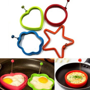 Lieomo 4Pcs Creative Silicone Omelette Shaper Egg Fried Breakfast Cooking Mould Tool