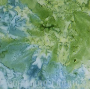 Mottled Celadon Batik Cotton Fabric by Hoffman of CA.