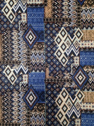 Blue & Tan Diamond Tribal Pattern on Stretch Lightweight Brushed Knit Jersey Polyester Spandex Fabric by the Yard