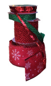 Wire Edge Christmas Ribbon Red and White Snowflake and Mesh with Green Glitter and Red Sequin Ribbon