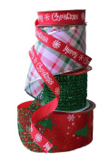 Wire Edge Christmas Ribbon in Coordinating Red and Green with Mesh and Merry Christmas Ribbon