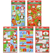 100 Christmas House Holiday Self-Adhesive Gift Tags ( Merry Christmas, Angels, Christmas Trees, Doves, Seasons's Greetings, Garlands and Pinecones, Stars, Wreathes.