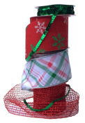 Wire Edge Christmas Ribbon in Coordinating Red and Green with Mesh and Sequins