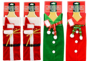 Christmas House Santa and Elf Wine Bottle Gift Bags, 4 Bags