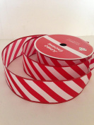 Red White CandyCane Striped Design 6.4cm . x 30m Jumbo Wired Ribbon - Great for the Christmas Season!