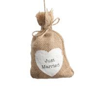 FENICAL 10pcs Just Married Wedding Favour Bag Gift Bag Candy Bag Vintage Jute Burlap Bag
