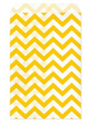 100 Pc 22cm X 28cm Yellow Chevron Paper Bags, by My Craft Supplies