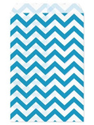 100 Pc 22cm X 28cm Blue Chevron Paper Bags by My Craft Supplies