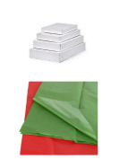 Green & Red Tissue Paper & Assorted White Gift Box Bundle