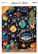 James Brett Double Knit Crochet Pattern Kids Rockets Stars & Planets Space Blanket