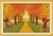 Autumn scenery DIY Embroidery Kit Precise Printed Needlework Cross stitch