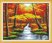 Autumn scenery #2 DIY Embroidery Kit Precise Printed Needlework Cross stitch