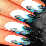 BLUE PEACOCK NAIL ART SET STICKERS DECALS WATER TRANSFERS. USE WITH NATURAL GEL ACRYLIC