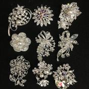 9x clear crystal rhinestone brooch use for wedding bouquet . Bridal sash , flower embellishment , wedding favour, wholesale brooch
