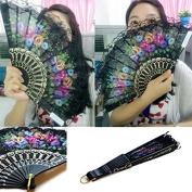 Plastic Fan Summer Accesory Art Folding Carved Hand Fan 23cm Fashion Vintage Spanish Lace Colour/Floral Pattern Randomly -Pier 27