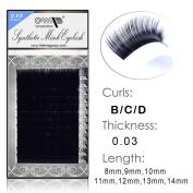 Semi Permanent Individual Eyelash Extension Mink Silk 3D 6D 9D Volume B/C/D Curl .03 thickness ( 8mm-14mm) /12 Rows/tray